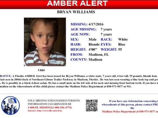 AMBER alert for Bryan Williams, 7