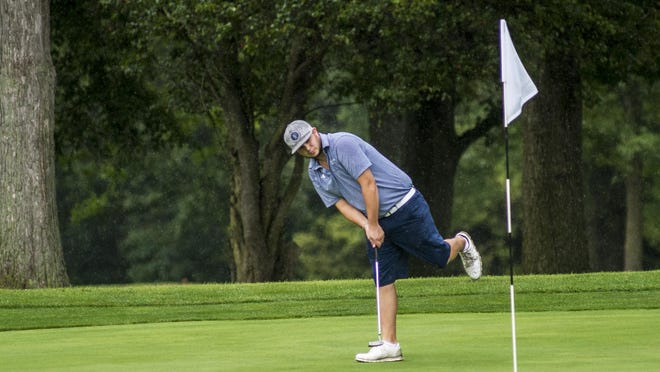 No. 3 seed Britt Bothast, shown here putting in last week's qualifying round of the Peoria Men's City golf tournament at Newman Golf Course, advanced to the quarterfinals with a convincing win Wednesday.