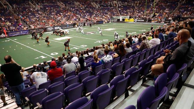 Fans watch IFL action between the Arizona Rattlers and the Nebraska Danger at Talking Stick Resort Arena in Phoenix May 27, 2018.