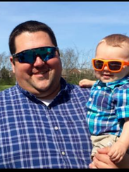 Murfreesboro Police officer Matthew Stern and his son