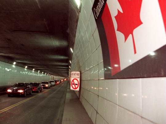 The Canadian Flag is show inside the Detroit-Windsor Tunnel.