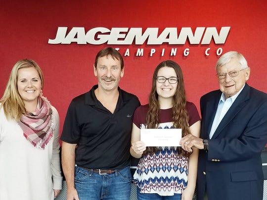 Madeline Johnsrud was awarded the 2017 William P. Jagemann Scholarship Award. Pictured, from left: Allissa Waniger, Jagemann human resources; Gregory Johnsrud, logistic support manager; Madeline Johnsrud, scholarship recipient; and William T. Jagemann.