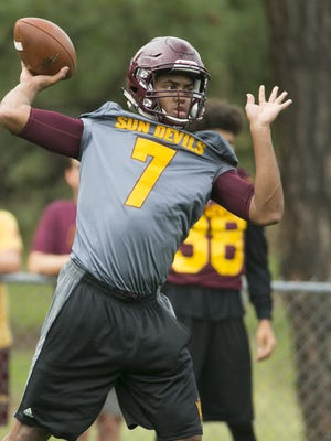 ASU quarterback Dillon Sterling-Cole passes during ASU football camp practice at Rumsey Park in Payson on Wednesday, August 3, 2016. ASU had to move their practice from Camp Tontozona to the field at Rumsey Park because the field at Camp Tontozona was too wet from rain.