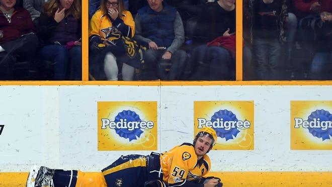 Predators defenseman Roman Josi left Thursday's win against the Bruins because of an upper-body injury.