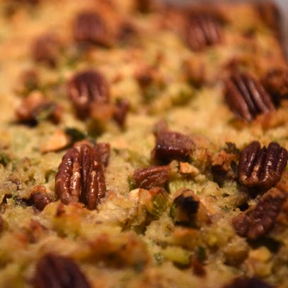 Joan Banez's cornbread, apple, and pecan stuffing.