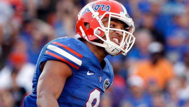 Florida wide receiver Trey Burton (8) reacts after a play during the second half Saturday against Georgia Southern at Ben Hill Griffin Stadium.