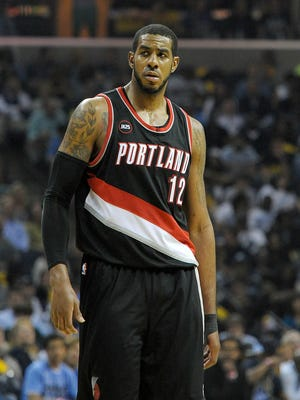 Apr 22, 2015: Portland Trail Blazers forward LaMarcus Aldridge (12) during the game against the Memphis Grizzlies in game two of the first round of the NBA Playoffs at FedExForum. Memphis Grizzlies beat Portland Trail Blazers 97 - 82.