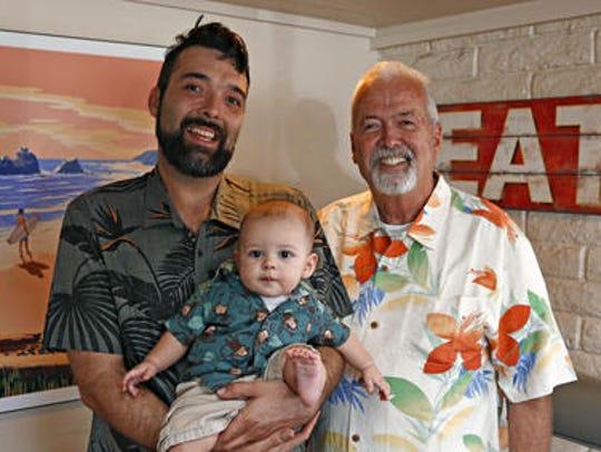 Three generations of Stidhams: John, right, his son