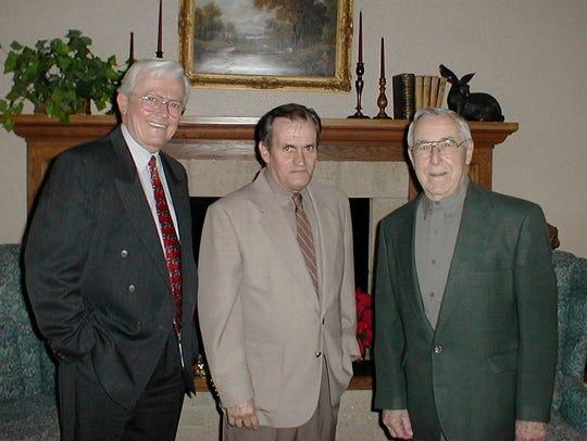 WETM-TV's Carl Proper, left, Rod Denson, center, and