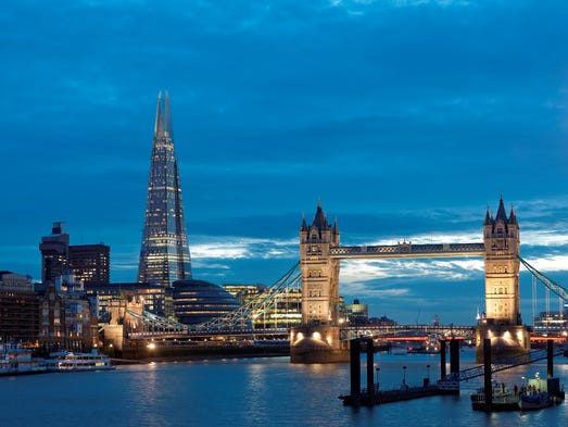 Designed by noted architect Renzo Piano, the distinctive glass-clad spire of the Shard, Western Europe's tallest building, dominates the skyline near London Bridge and the Tate Modern.