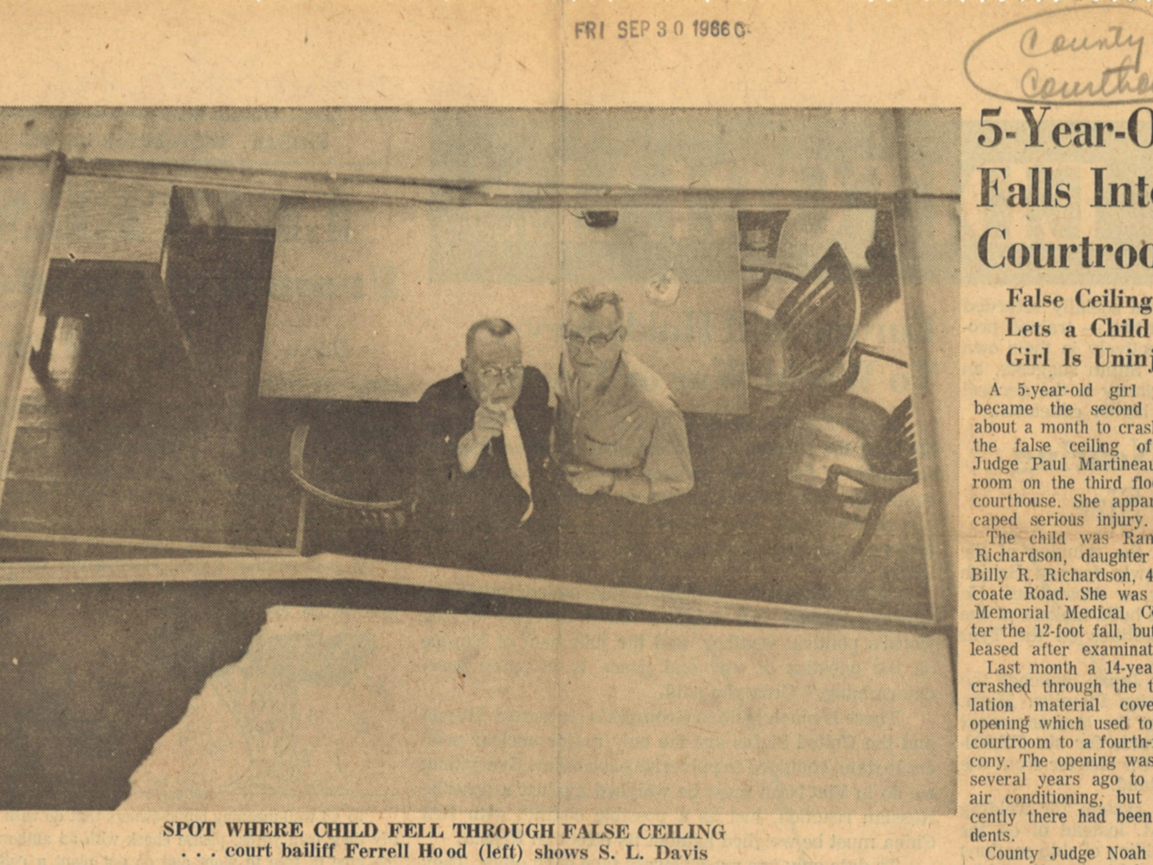 An article from Sept. 30, 1966 Caller-Times detailing how a 5-year-old girl fell through a false ceiling in the Nueces County Courthouse.