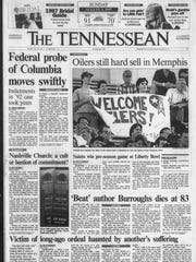 The Tennessean, Aug. 3, 1997, after the Oilers made their Tennessee debut with a preseason game in Memphis.