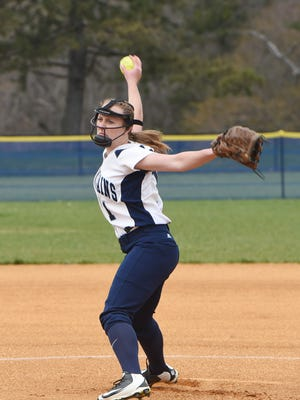 Pine Plains' Alex McKenzie winds up a throw during an April game against Millbrook.
