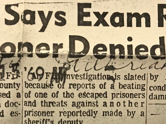 Mr. and Mrs. Dave Elkins, relatives of one of the prisoners who escaped from the Tom Green Co. Jail in February of 1969 asked to have a doctor examine their kinsman after he returned voluntarily, but were denied permission by Sheriff Cecil Turner.