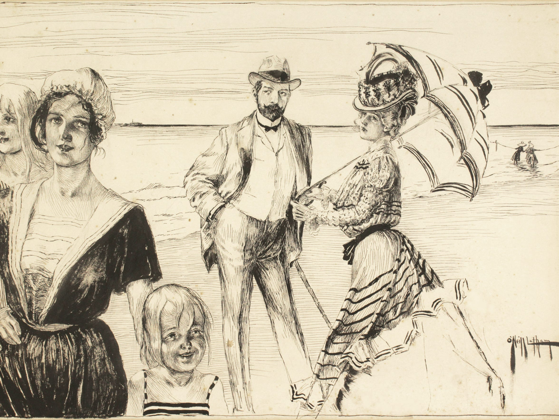 """""""The Result"""" is an 1898 work by Rose O'Neill in pen"""