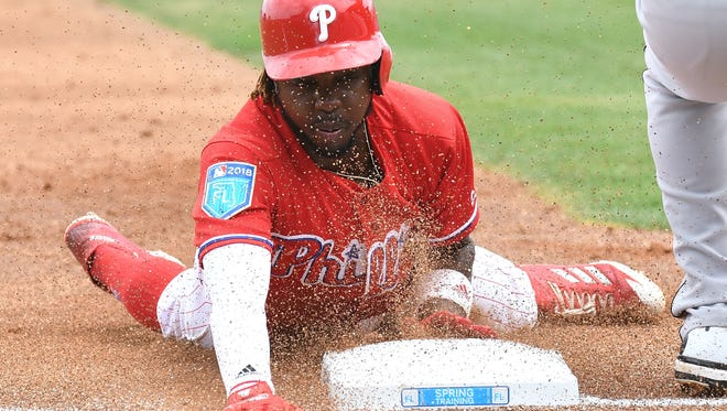Philadelphia Phillies infielder Roman Quinn (24) was promoted to the big club on Friday.