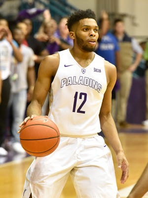 Furman hosts East Tennessee State in men's basketball Saturday, January 30, 2016. Furman guard Devin Sibley (12)