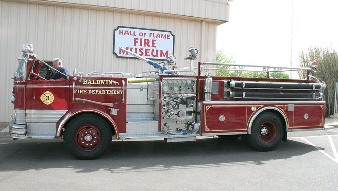 The Hall of Flame Fire Museum has exhibits dating to the 17th century. This Mack pumper is from 1966.