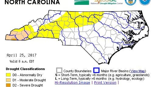Drought conditions improved in Western North Carolina Thursday April 27, 2017.