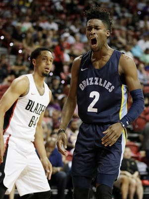 The Grizzlies' Kobi Simmons celebrates after scoring against the Trail Blazers during a Summer League game July 16.