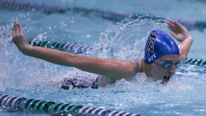 Charter junior Danielle Bye swims the butterfly leg of the 200 yard medley relay during the girls Blue Hen conference swimming championship at McKean High School Saturday.