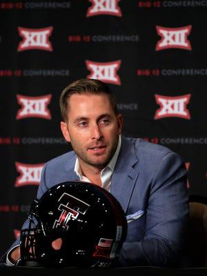 Texas Tech coach Kliff Kingsbury speaks to the media during the Big 12 Media Days on Monday.