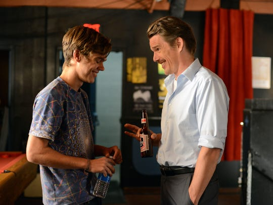 Ellar Coltrane, at 17 and Ethan Hawke in a scene from
