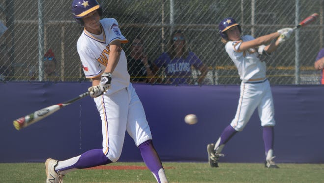 Wylie Junior League's Walker Piland takes a swing during a 17-7 win over Alice American on Tuesday at Kirby Park. Wylie went on to beat American 3-1 in Tuesday's second game to claim the Texas West state title.