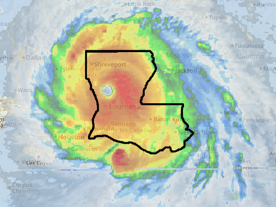 This image shows satellite footage from wundermap of Hurricane Irma as it crosses over Caribbean islands overlaid on top of a scaled map of Louisiana.