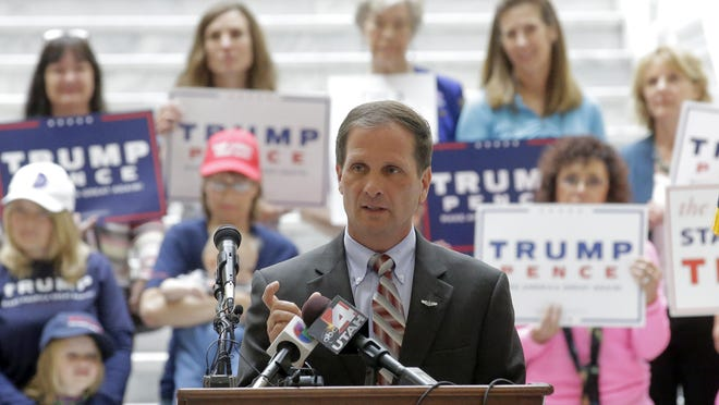 U.S. Rep. Chris Stewart speaks during a rally for Donald Trump on Tuesday at the Utah State Capitol in Salt Lake City.
