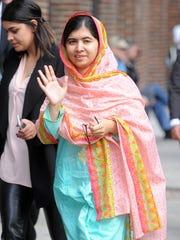 Malala Yousafzai arrives for an appearance on 'The