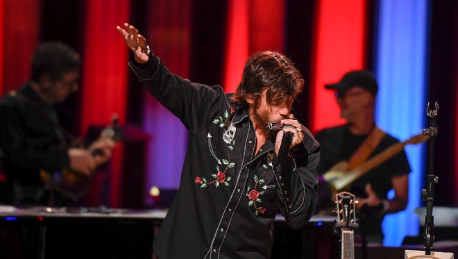 Chris Janson performs at the Grand Ole Opry House in Nashville on Tuesday, June 5, 2018.