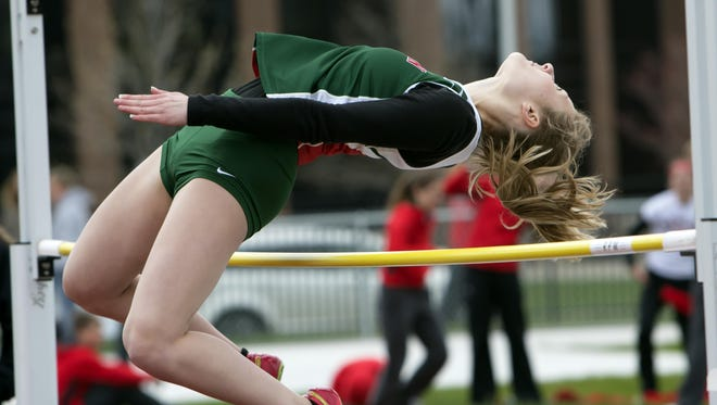 Audrey Krueger, competing in the high jump, won a pair of events for the Indians on Tuesday to help lead Berlin to the team victory.