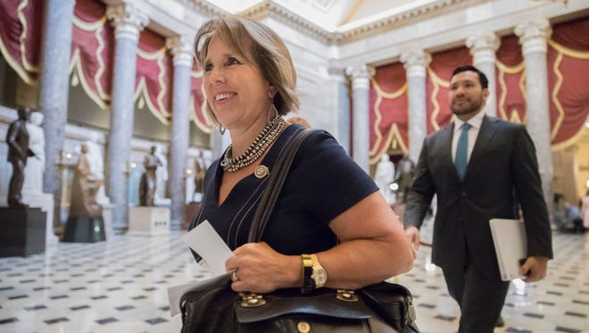 In this Sept. 13, 2017, file photo, Congressional Hispanic Caucus Chair Rep. Michelle Lujan Grisham, D-N.M., arrives for a meeting with Speaker of the House Paul Ryan, R-Wis., and House Minority Leader Nancy Pelosi, D-Calif. at the Capitol in Washington. A transgender former intern says an apology letter from her to Lujan Grisham is a fake. Riley Del Rey told The Associated Press on Tuesday, Dec. 19 she never wrote the letter and Lujan Grisham's office is circulating the bogus letter to divert attention from claims the congresswoman fired her because she is transgender.