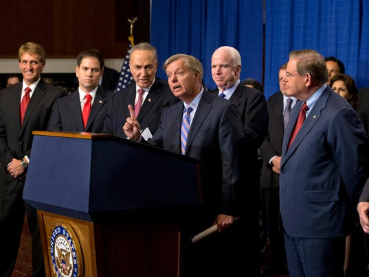 Chuck Schumer, Robert Menendez, Dick Durbin, Marco Rubio, Lindsey Graham, Jeff Flake, John McCain
