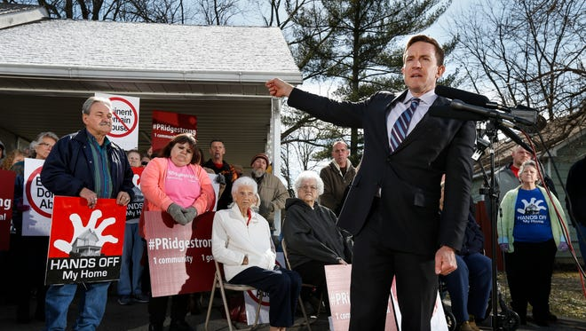 Institute for Justice senior attorney Jeff Rowes speaks during a press conference held by the Institute for Justice with residents of Pleasant Ridge in Charlestown, Indiana on Friday. Feb. 10, 2017