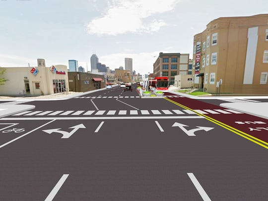 The Red Line will have dedicated lanes like this on Capitol near 9th Street