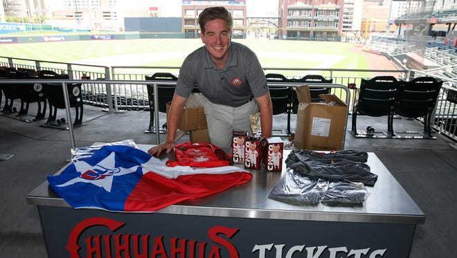 Andy Imfeld, promotions and community relations manager for the El Paso Chihuahuas, stands over the team giveaways planned for the upcoming seven-game homestand, which begins Wednesday. On Wednesday night, the first 1,500 fans with a paid admission will receive a Chihuahuas' Texas beach towel. Saturday night will feature back-to-school backpacks from the Hospitals of Providence. On Sunday, there will be Chico bobbleheads and closing out the homestand on Aug. 7 will be a lightweight hoodie.