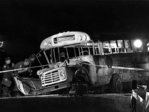 Investigators Lo Ng Over Burned Hulk Of Bus In The