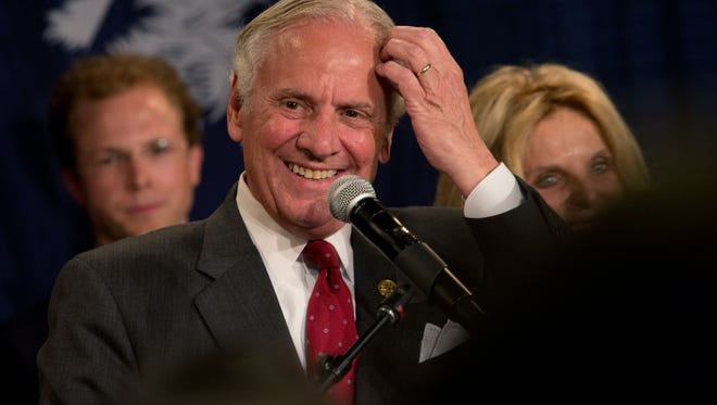 Henry McMaster wins the Republican gubernatorial runoff at McMaster's campaign party Tuesday, June 26, 2018 at the Spirit Communications Ballpark in Columbia. Andrew J. Whitaker/The Post and Courier