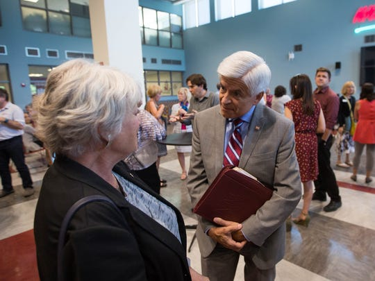 Newly-named Chancellor Dan Arvizu spoke with state Rep. Joanne Ferrary on the NMSU campus on May 22.
