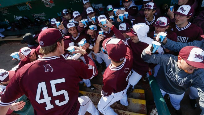 Missouri State players take a shot before the Bears took on Oklahoma State in their 2018 home opener at Hammons Field on Wednesday, March 7, 2018.
