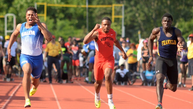 From left, Salem's Jonathan Taylor, Neptune's Marvin Morgan and Franklin's Mario Heslop run in the boys 100-meter dash during the NJSIAA Track and Field Meet of Champions at Northern Burlington County Regional High School,