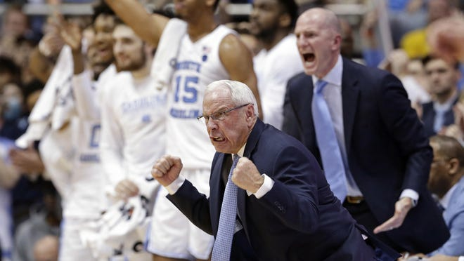 North Carolina head coach Roy Williams reacts during the second half of an NCAA college basketball game against Gonzaga on Dec. 15, 2018, in Chapel Hill.