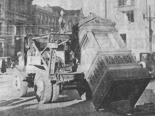 A weather kiosk in New York being moved to Clinton Street in Binghamton, in 1933.