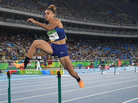 Sydney McLaughlin competes in the women's 400m hurdles during track and field competition Monday in the Rio Olympics.