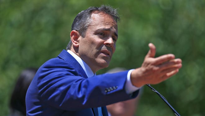 Gov. Matt Bevin spoke about the $5.8 billion in business investment in Kentucky Friday but also blistered the media about attention to his Anchorage home, taxes and ethics complaint filed by Richard Beliles who alleges Bevin violated state government's ethics code by using his office for personal gain in matters related to the sale of the Anchorage mansion.