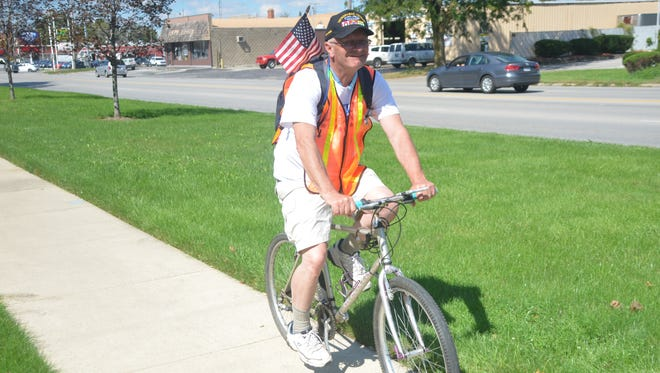 Former congressman Kerry Bentivolio, 64, of Miford Michigan is biking and walking from Michigan to Washington D.C., to raise awareness for veterans in need of health care.