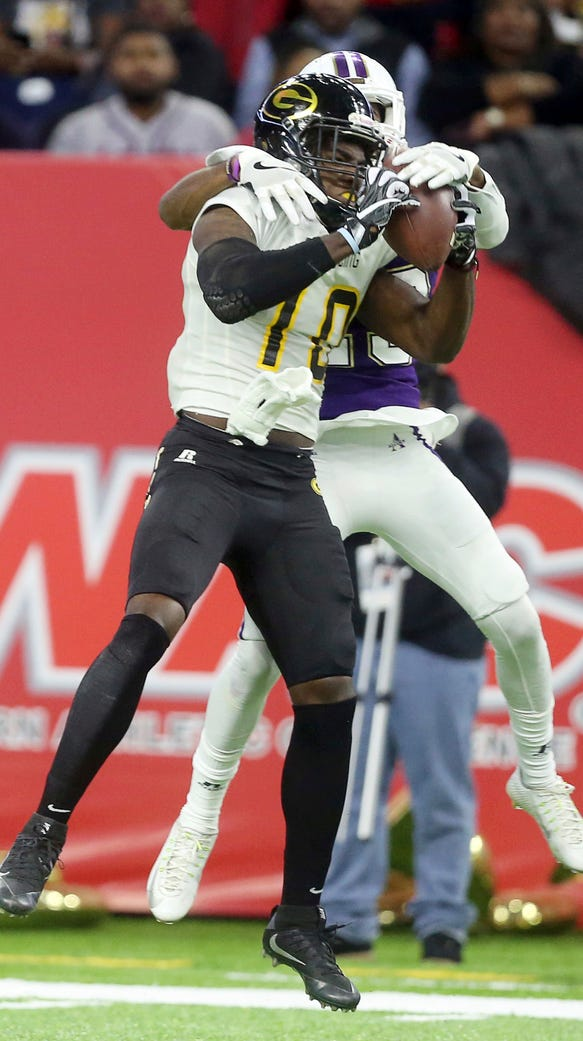 Grambling State wide receiver Chad Williams (10) catches