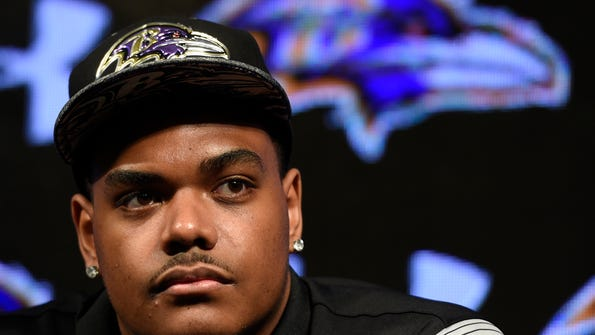 Baltimore Ravens first round draft pick Ronnie Stanley answers questions during a news conference Friday, April 29, 2016, in Owings Mills, Md. (AP Photo/Gail Burton)